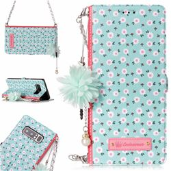 Daisy Endeavour Florid Pearl Flower Pendant Metal Strap PU Leather Wallet Case for Samsung Galaxy Note 8