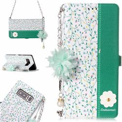 Magnolia Endeavour Florid Pearl Flower Pendant Metal Strap PU Leather Wallet Case for Samsung Galaxy Note 8