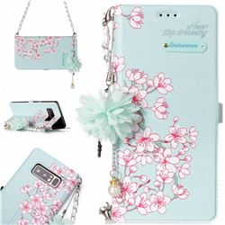 Cherry Blossoms Endeavour Florid Pearl Flower Pendant Metal Strap PU Leather Wallet Case for Samsung Galaxy Note 8
