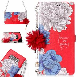 Red Chrysanthemum Endeavour Florid Pearl Flower Pendant Metal Strap PU Leather Wallet Case for Samsung Galaxy Note 8