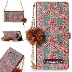 Impatiens Endeavour Florid Pearl Flower Pendant Metal Strap PU Leather Wallet Case for Samsung Galaxy Note 8