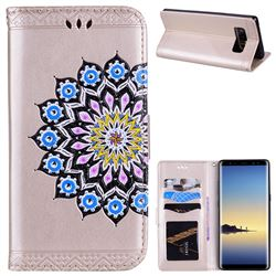 Datura Flowers Flash Powder Leather Wallet Holster Case for Samsung Galaxy Note 8 - Golden