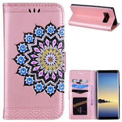 Datura Flowers Flash Powder Leather Wallet Holster Case for Samsung Galaxy Note 8 - Pink