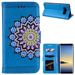 Datura Flowers Flash Powder Leather Wallet Holster Case for Samsung Galaxy Note 8 - Blue