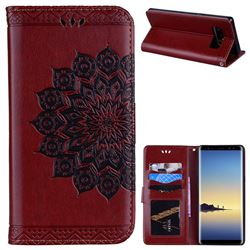 Datura Flowers Flash Powder Leather Wallet Holster Case for Samsung Galaxy Note 8 - Brown