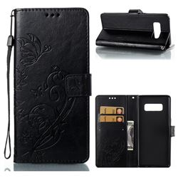 Embossing Butterfly Flower Leather Wallet Case for Samsung Galaxy Note 8 - Black
