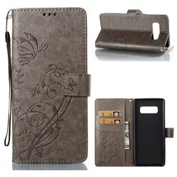 Embossing Butterfly Flower Leather Wallet Case for Samsung Galaxy Note 8 - Grey