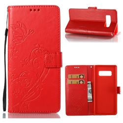 Embossing Butterfly Flower Leather Wallet Case for Samsung Galaxy Note 8 - Red