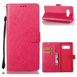 Embossing Butterfly Flower Leather Wallet Case for Samsung Galaxy Note 8 - Rose