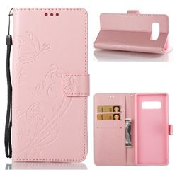 Embossing Butterfly Flower Leather Wallet Case for Samsung Galaxy Note 8 - Pink