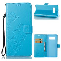 Embossing Butterfly Flower Leather Wallet Case for Samsung Galaxy Note 8 - Blue