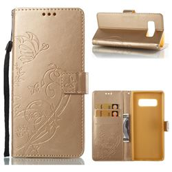 Embossing Butterfly Flower Leather Wallet Case for Samsung Galaxy Note 8 - Champagne