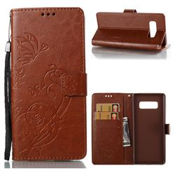 Embossing Butterfly Flower Leather Wallet Case for Samsung Galaxy Note 8 - Brown