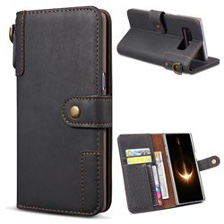 Retro Luxury Cowhide Leather Wallet Case for Samsung Galaxy Note 8 - Black
