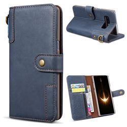 Retro Luxury Cowhide Leather Wallet Case for Samsung Galaxy Note 8 - Blue