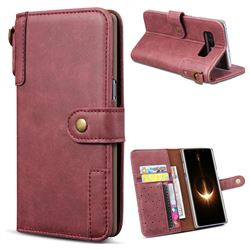 Retro Luxury Cowhide Leather Wallet Case for Samsung Galaxy Note 8 - Wine Red