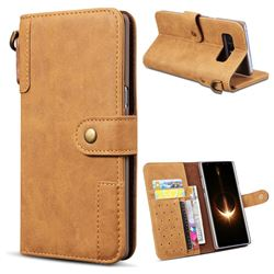 Retro Luxury Cowhide Leather Wallet Case for Samsung Galaxy Note 8 - Brown