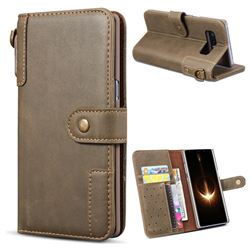 Retro Luxury Cowhide Leather Wallet Case for Samsung Galaxy Note 8 - Coffee