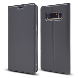 Ultra Slim Card Magnetic Automatic Suction Leather Wallet Case for Samsung Galaxy Note 8 - Star Grey