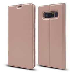 Ultra Slim Card Magnetic Automatic Suction Leather Wallet Case for Samsung Galaxy Note 8 - Rose Gold