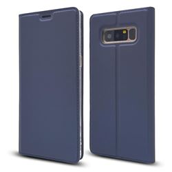 Ultra Slim Card Magnetic Automatic Suction Leather Wallet Case for Samsung Galaxy Note 8 - Royal Blue