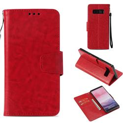 Retro Phantom Smooth PU Leather Wallet Holster Case for Samsung Galaxy Note 8 - Red