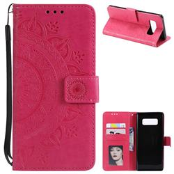 Intricate Embossing Datura Leather Wallet Case for Samsung Galaxy Note 8 - Rose Red