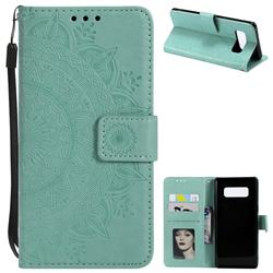 Intricate Embossing Datura Leather Wallet Case for Samsung Galaxy Note 8 - Mint Green