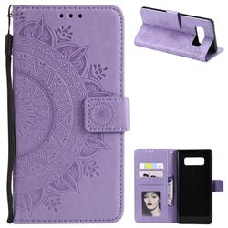 Intricate Embossing Datura Leather Wallet Case for Samsung Galaxy Note 8 - Purple
