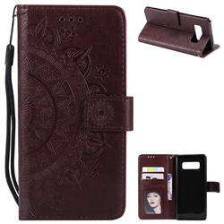 Intricate Embossing Datura Leather Wallet Case for Samsung Galaxy Note 8 - Brown