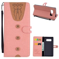 Ladies Bow Clothes Pattern Leather Wallet Phone Case for Samsung Galaxy Note 8 - Pink
