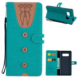 Ladies Bow Clothes Pattern Leather Wallet Phone Case for Samsung Galaxy Note 8 - Green