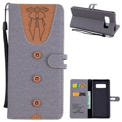 Ladies Bow Clothes Pattern Leather Wallet Phone Case for Samsung Galaxy Note 8 - Gray
