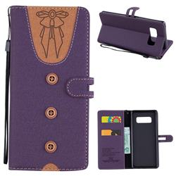 Ladies Bow Clothes Pattern Leather Wallet Phone Case for Samsung Galaxy Note 8 - Purple
