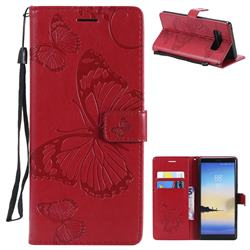 Embossing 3D Butterfly Leather Wallet Case for Samsung Galaxy Note 8 - Red