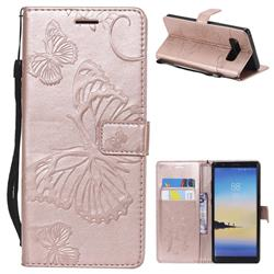 Embossing 3D Butterfly Leather Wallet Case for Samsung Galaxy Note 8 - Rose Gold