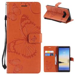 Embossing 3D Butterfly Leather Wallet Case for Samsung Galaxy Note 8 - Orange