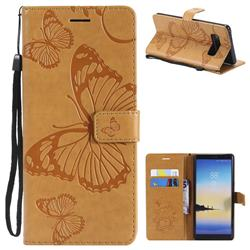 Embossing 3D Butterfly Leather Wallet Case for Samsung Galaxy Note 8 - Yellow