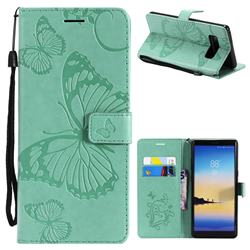 Embossing 3D Butterfly Leather Wallet Case for Samsung Galaxy Note 8 - Green