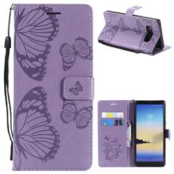 Embossing 3D Butterfly Leather Wallet Case for Samsung Galaxy Note 8 - Purple
