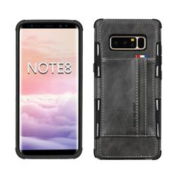 Luxury Shatter-resistant Leather Coated Card Phone Case for Samsung Galaxy Note 8 - Gray