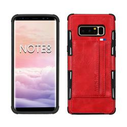 Luxury Shatter-resistant Leather Coated Card Phone Case for Samsung Galaxy Note 8 - Red
