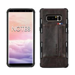 Luxury Shatter-resistant Leather Coated Card Phone Case for Samsung Galaxy Note 8 - Coffee