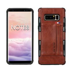 Luxury Shatter-resistant Leather Coated Card Phone Case for Samsung Galaxy Note 8 - Brown