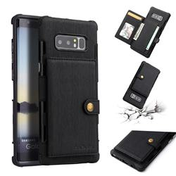 Brush Multi-function Leather Phone Case for Samsung Galaxy Note 8 - Black