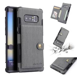 Brush Multi-function Leather Phone Case for Samsung Galaxy Note 8 - Gray
