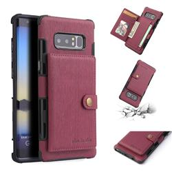 Brush Multi-function Leather Phone Case for Samsung Galaxy Note 8 - Wine Red