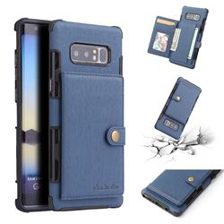 Brush Multi-function Leather Phone Case for Samsung Galaxy Note 8 - Blue