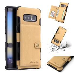Brush Multi-function Leather Phone Case for Samsung Galaxy Note 8 - Golden