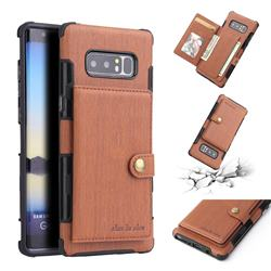 Brush Multi-function Leather Phone Case for Samsung Galaxy Note 8 - Brown